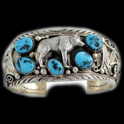 Wolf Silver Bracelet With 5 Turquoises