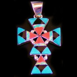 Navajo Cross Sterlingsilver Pendant Gemstones Inlay Turquoise Pink Shell