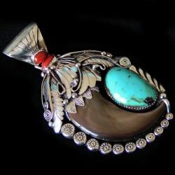 Pendentif Griffe d'Ours Véritable en Argent Turquoise & Corail