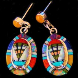 ZUNI SILVER EARRINGS MULTI COLOR GEMSTONES