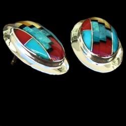 Boucles d'Oreilles Argent Mosaïque Motif Navajo Corail Turquoise Nacre