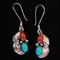 Turquoise and Coral Indian Navajo Sterlingsilver Earrings