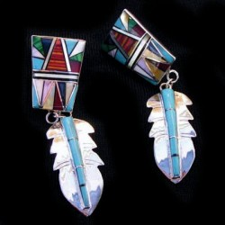 Indian Zuni Feather Gemstones Inlay Silver Earrings