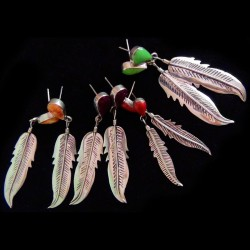 Teardrop and Feather Sterlingsilver Earrings Color Choice
