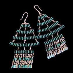 Triangle Indian Zuni Needlepoint and Danggles Earrings
