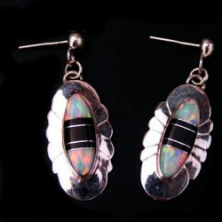 Black Jasp and Opal Color Choice Sterlingsilver Earrings