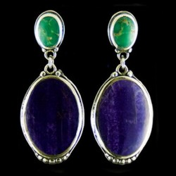 LAPIS LAZZULI MALACHIT SILVER EARRINGS