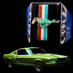 BAGUE ARGENT FORD MUSTANG