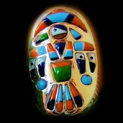 Thunderbird Sterlingsilver Ring with Gemstones Inlay