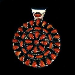 Indian Zuni Pendant with Semi Precious Stones