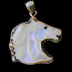 Mother of Pearl Sculpted Horse Head Silver Pendant
