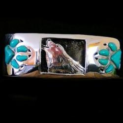 Bracelet Amerindien Navajo Loup en Argent et Turquoise