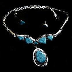 SIX TURQUOISES ZUNI STERLINGSILVER NECKLACE