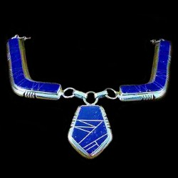 NAVAJO ARROW HEAD CHANNEL INLAY COLLAR NECKLACE