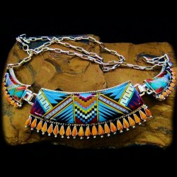 SPINY OSTER NEEDLEPOINT AND COLORED STONES ZUNI NECKLACE
