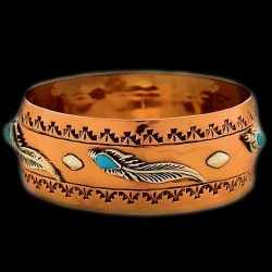 TURQUOISE AND FEATHER NAVAJO COPPER BRACELET