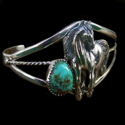 HORSE AND CABOCHON COLOR CHOICE STERLING SILVER BRACELET