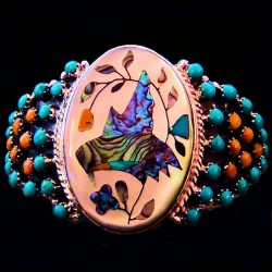 HUMMINGBIRD INLAY STERLING SILVER BRACELET