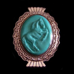 TURQUOISE CARVED HORSE SILVER BOLO TIE