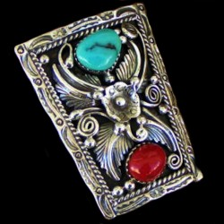 TURQUOISE AND CORAL STERLING SILVER BOLO-TIE