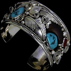 Bearclaw Sterlingsilver Bracelet for Man With Turquoise and Red Coral