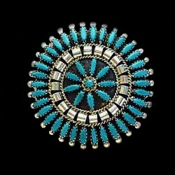 ZUNI NEEDLEPOINT STERLINGSILVER HAIR BARETTE
