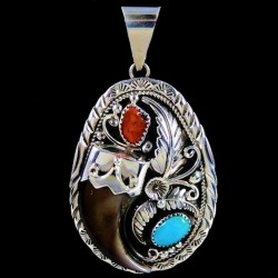 Bearclaw Sterlingsilver Pendant with Turquoise & Coral