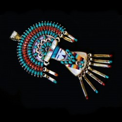 Kashina Danggles Zuni Sterlingsilver Pendant With Turquoise, Red Coral & Mother of Pearl