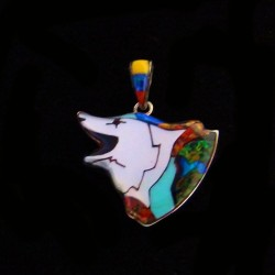 Howling Wolf Sterlingsilver and Gemstones Pendant