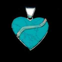 OPAL AND TURQUOISE HEART STERLING SILVER PENDANT