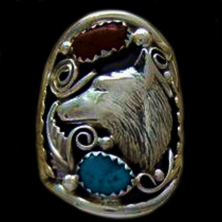 WOLF HEAD STERLING SILVER RING