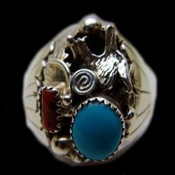 Wolf Head Turquoise Coral Cabochons Sterlingsilver Ring