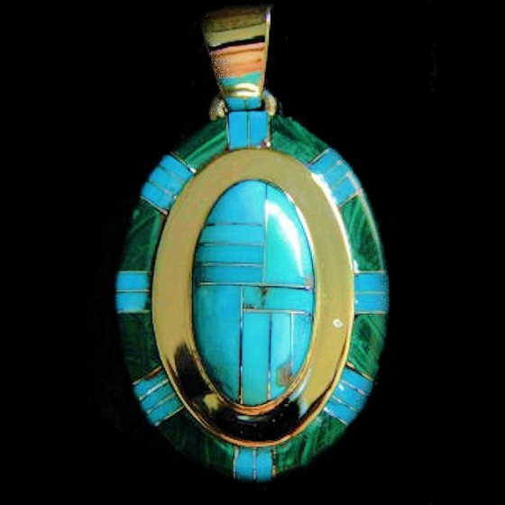 TURQUOISE AND MALACHIT  OVAL PENDANT