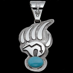 NAVAJO BEARCLAW TURQUOISE STERLING SILVER PENDANT