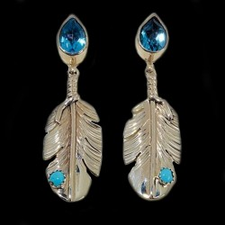 GEMSTONE FEATHER DROP STERLING SILVER EARRINGS