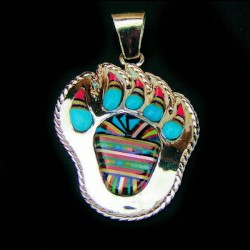 BEAR PAW STERLING SILVER PENDANT