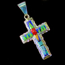 ZUNI CROSS STERLING SILVER PENDANT