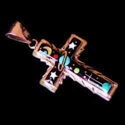 Cross Universe Inlay Indian Zuni Sterlingsilver Pendant