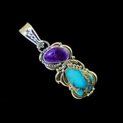 NAVAJO AMETHYST AND TURQUOISE STERLING SILVER PENDANT