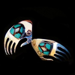 Bear Paw with Navajo Design Sterlingsilver Earrings