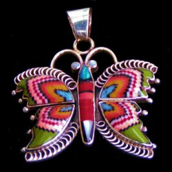 Butterfly Sterlingsilver Pendant With Gemstones Inlay