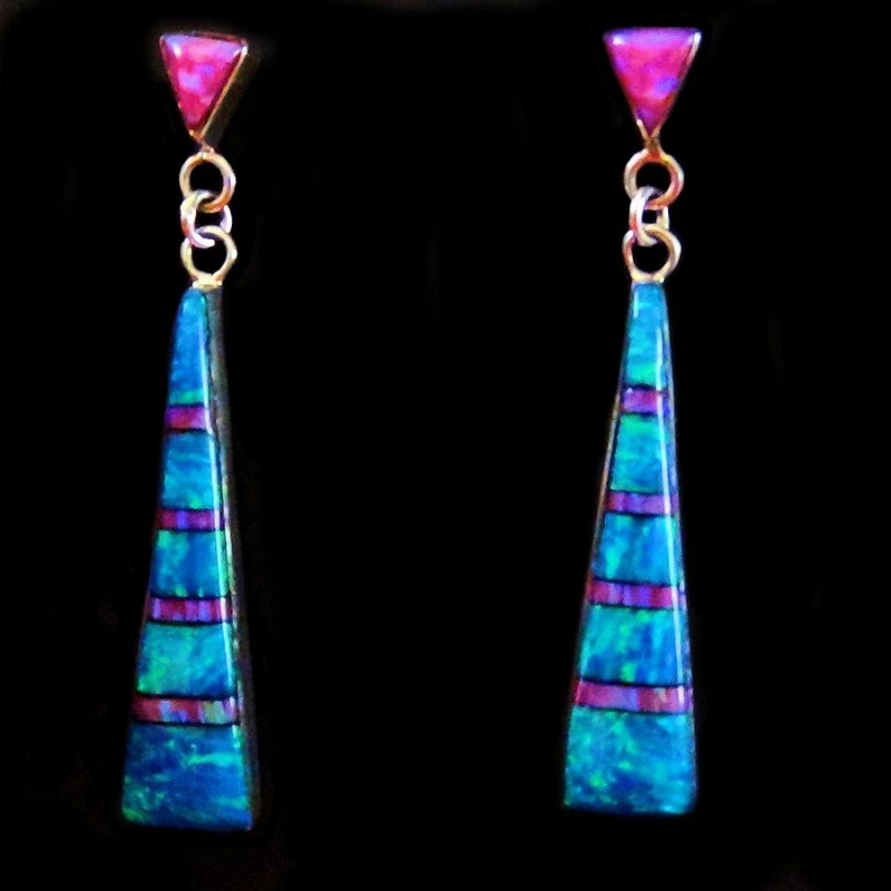 TRIANGULAR BLUE OPAL SILVER EARRINGS