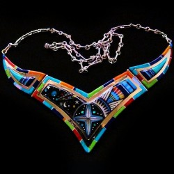 ZUNI UNIVERSE INLAID COLLAR NECKLACE