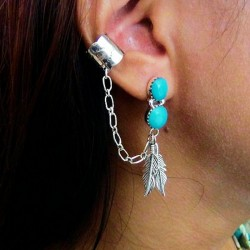 TWO FEATHERS SLAVE SILVER EARRINGS