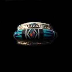 Bague Amerindienne Zuni Multicolore et Losange Opale pour Femme