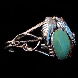 TURQUOISE CABOCHON AND OPAL STERLING SILVER NAVAJO BRACELET