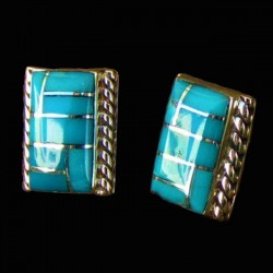 Boucles d'Oreilles Rectangulaires Channel Inlay