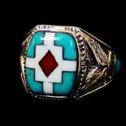 Bague Chevalière Amerindienne Pour Femme et pour Homme Symbole Navajo