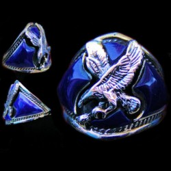 Night Bird Eagle Silver Biker Ring Color Choice