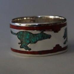 Anneau Bague Loup en Argent Turquoise et Corail Couleurs au Choix